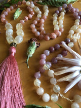 The Dusty Rose Mala:  Featuring Faceted Peach Moonstone, Citrine, Strawberry Quartz, Champagne Quartz, and Sahara Jade, Sensual and Ladylike