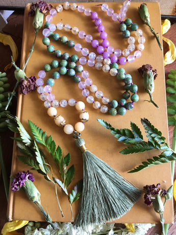 The Mala of the Month of May:  Featuring Ruby Fuschite, Champagne Quartz, Orchid Jade, and a Sage Green Silk Tassel, Fresh and Springlike
