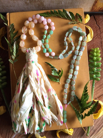 Free Spirit Sari Silk Hand-knotted Necklace:  Featuring Citrine Nuggets, Dogwood Pink Jade, Chyrsophase Nuggets, and Flashy Green Kyanite
