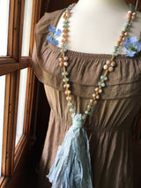 Supremely Bohemian Long Style Macrame Necklace:  Featuring Aquamarine, Matte Moonstone, Pink Botswana Agate, and Teal Blue Sari Silk