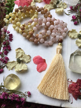 The Trinity Mala Collection: Dreams, Intuition, Good Fortune...Featuring Pink Dogwood Jade, Yellow Moonstone, and Primrose Yellow Jade