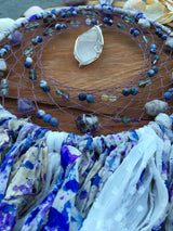 Serenely Purple Large Quartz Point Dreamcatcher with Chevron Amethyst, Sodalite, and Fluorite with Spotted Lilac and Purple Grey Sari Silk