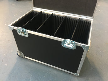 Lightweight Wheeled case, movable dividers. i/d 600x300x300mm