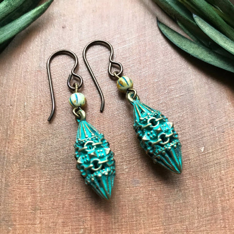 Exotic Earrings - Old World Style Brass with Green Patina