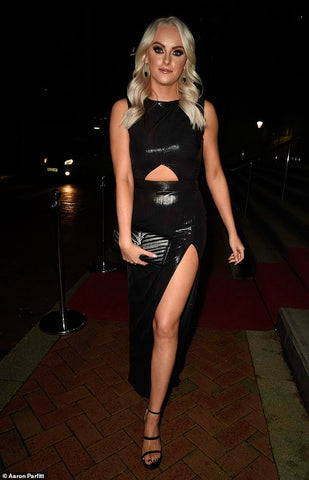 Actress Katie McGlynn wearing our BLACK METALLIC CUT-OUT BODYCON MAXI DRESS at the Mirror Ball in Manchester 2020