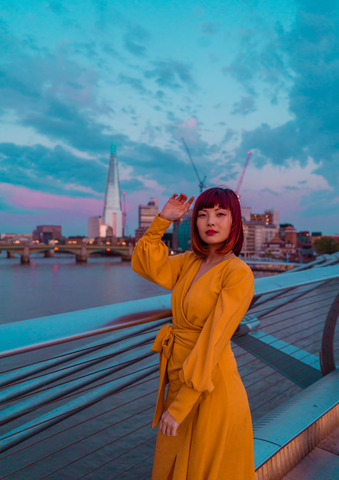 London Blogger Girl with the Red Bob wearing our Mustard Maxi Wrap Dress with Tie Waist in London