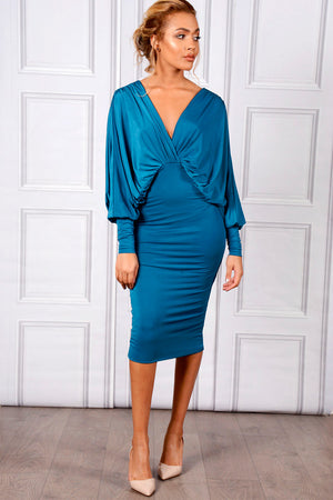 Sarvin ESSENTIALS - Lea - Teal Plunge Front and Back Batwing Midi Dress