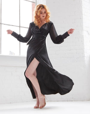 Black Satin wrap maxi dress with a tie waist, plunging neckline and balloon sleeves