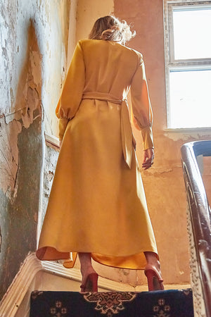 Back views Mustard yellow wrap tie waist maxi dress with balloon sleeves and plunging neckline