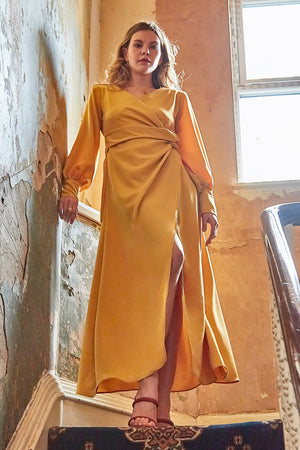 Mustard yellow wrap tie waist maxi dress with balloon sleeves and plunging neckline
