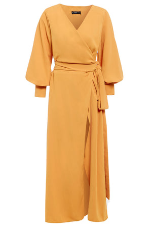 AMBER - V-neck wrap maxi dress with side split