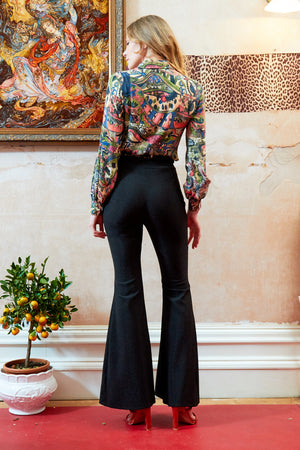 Sarvin ESSENTIALS - Cobie - High Waisted Flared Shimmery Trousers