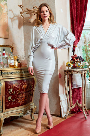ANIA - Silver plunge front and back batwing midi dress