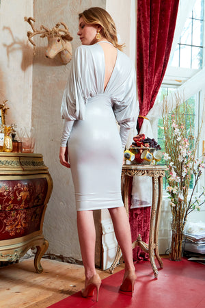 Silver slinky long sleeve batwing midi dress with ruched bodice and plunging neckline