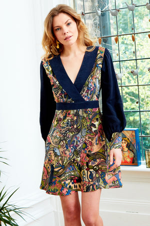 ARIA - Hand Painted Persian Print Mini Dress