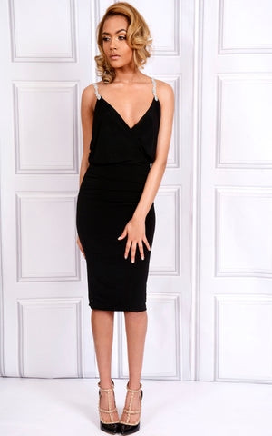 Blake A black bodycon fit midi dress with v-neckline, cowl drape back and beaded straps.