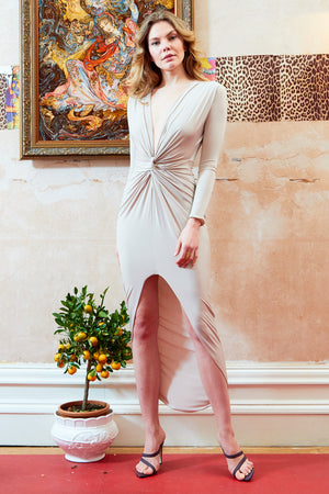 Stone Long Sleeve Front Knot Plunge Maxi Dress  With High Slit