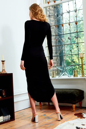 Back view Black Long Sleeve Front Knot Plunge Maxi Dress