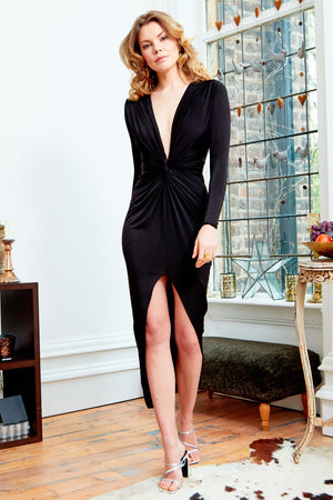 Black Long Sleeve Front Knot Plunge Maxi Dress  With High Slit