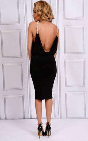 Blake A black bodycon fit midi dress with v-neckline, cowl drape back and beaded straps. A view of the cowl drape back