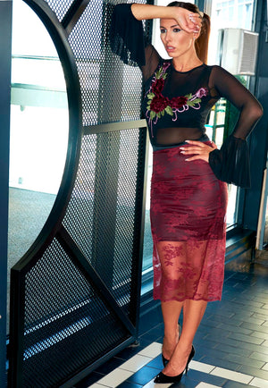 Burgundy High Waisted Lace Pencil Skirt With Black Satin Slip Underskirt and Contrasting Black Waistband