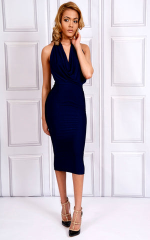 Navy Plunge Halter Midi Backless Dress with Beaded Detail