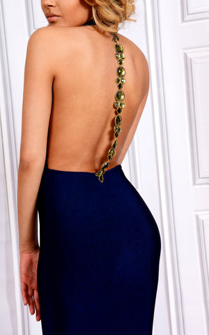 Back view Navy Plunge Halter Midi Backless Dress with Beaded Detail