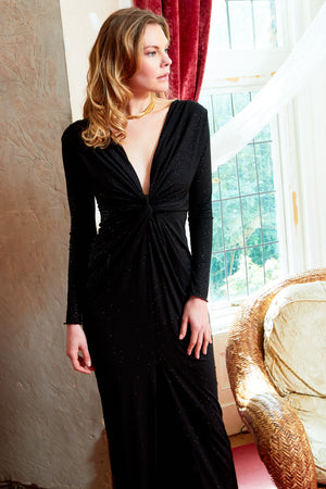 Clara - Black Glittery plunge front knot floor-length dress