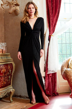 Black Glitter Plunge Front Knot Floor-Length Dress