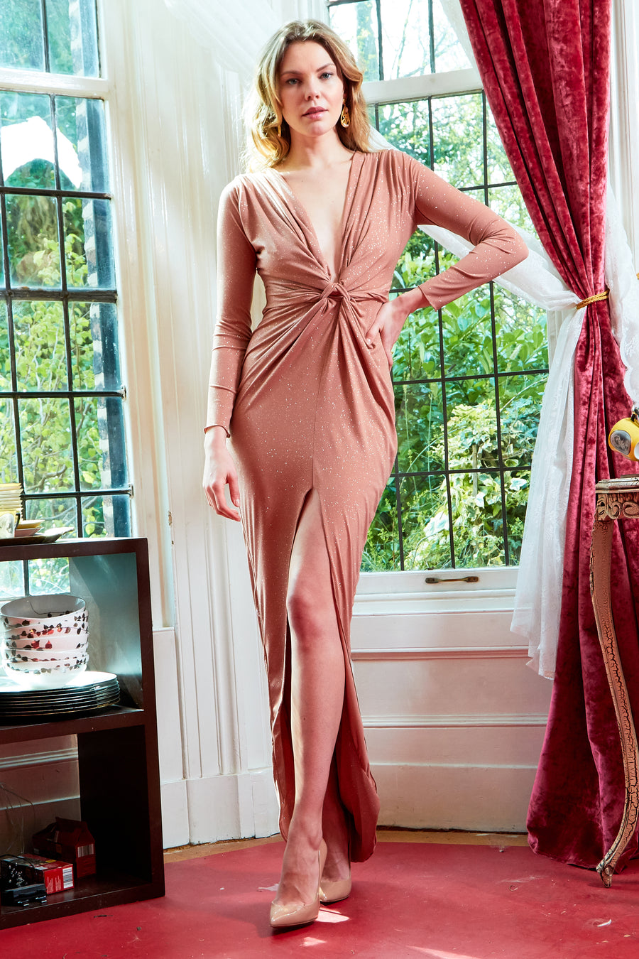 Rose Gold Glittery Plunge Front Knot Floor-Length Dress