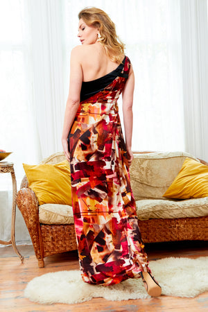 Asymmetric Side Slit Abstract Print Maxi Dress