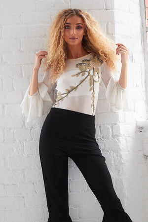 CLAUDIA - Embellished Bodysuit with Fluted Sleeves