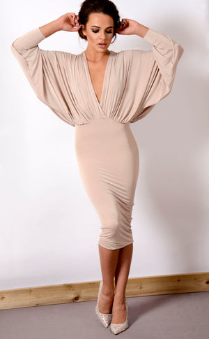LEA - Stone Plunge Front and Back Batwing Midi Dress
