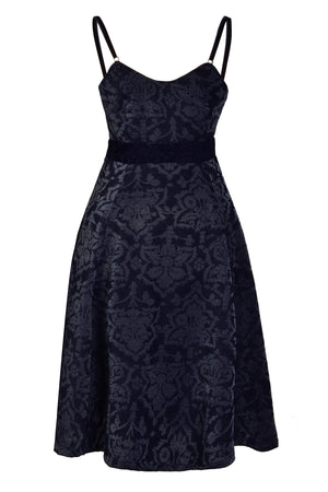 NINA - Sweetheart neckline jacquard midi dress