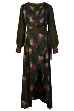 VERDANT - Jacquard Wrap Maxi Dress