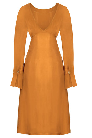 SHAY - Hand Crafted Long Sleeve Backless Midi Dress