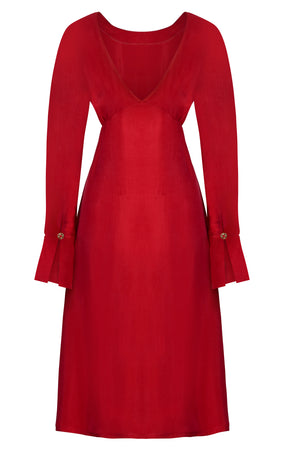 SHAY - Red long sleeved backless midi dress