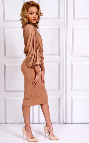 LEA - Caramel Plunge Front and Back Batwing Midi Dress