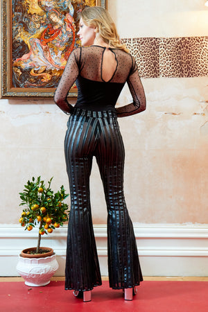 SLY - High waist metallic stripe flared trousers