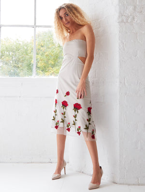 GWYNETH - Ivory Embroidered Cut-Out Bandeau Midi Dress