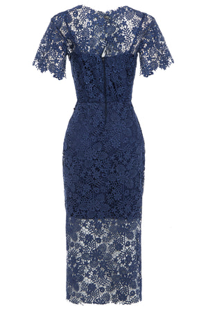 HANNAH - Guipure Lace Short Sleeve Midi Dress