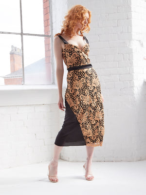 HOPE - Guipure Lace and Mesh Midi Dress