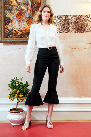 ASHLEE - Flared Frill Hem High Waisted Trousers