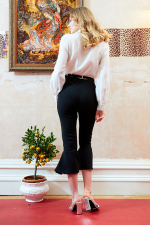High Waist 3/4 Length Black Trousers with frill hem detail