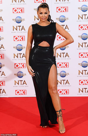 Jess Wright at the 2020 Television Awards in London wearing  our Black Metallic Cut-out Bodycon Maxi Dress, Moss