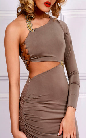 KESHA - Embellished Cut-Out One Shoulder Maxi Dress