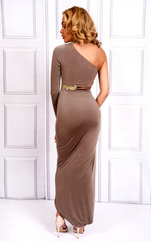 Sarvin OUTLET - Kesha - Embellished Cut-Out One Shoulder Maxi Dress