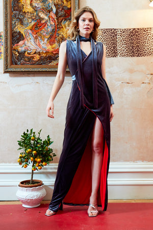 KAROLINA - Velvet Choker Wrap Maxi Dress