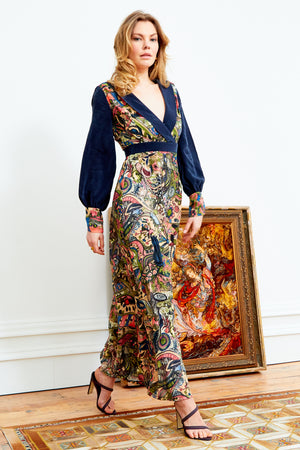 LARICA - Hand Painted Persian Print Maxi Dress