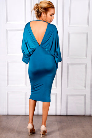 LEA - Teal plunge front and back batwing midi dress